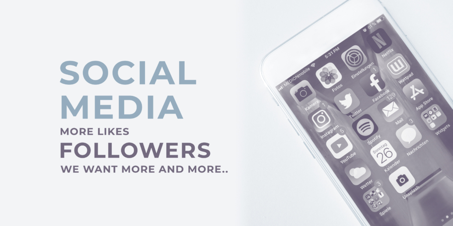 social media blog banner design, smartphone, social icons, apps, followers, likes, header text