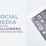 social media blog banner design, smartphone, social icons, apps, followers, likes, header text