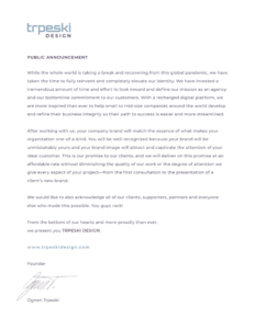 public announcement, ceo statement, founder, ognen trpeski statement, website release, new company, letterhead document