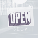 public announcement, we are open, open shop banner, creative agency established