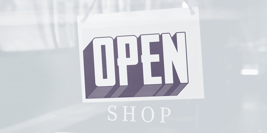 public announcement, we are open, open shop banner, creative agency established